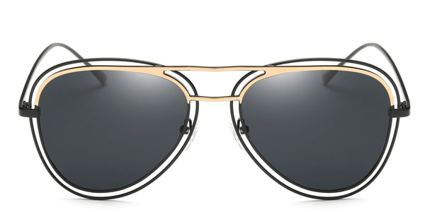 Black Main ZILOE Pearl Vintage Polarised Aviator Oversized Sunglasses