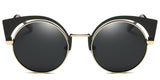 BlackSolid Main ZILOE Neko Polarised Vintage Cateye Round Sunglasses