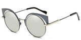 ChromeMirror Main ZILOE Neko Cateye Polarised Round Silver Sunglasses