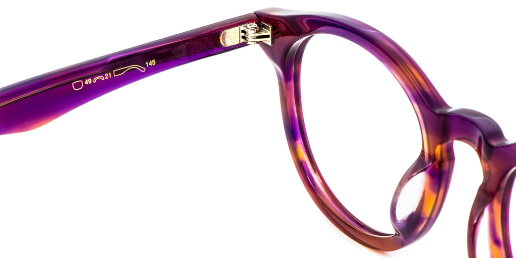 Purple Detail ZILOE Boldly Vintage Wayfarer Round Purple Acetate Glasses