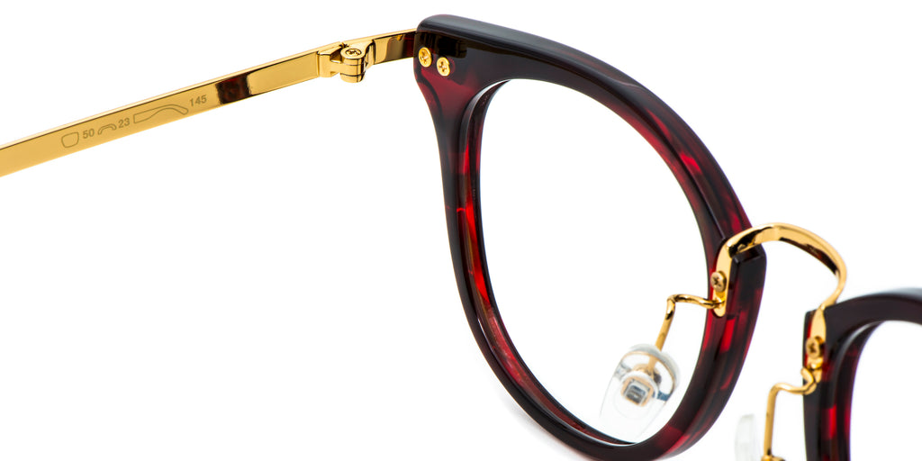 Red Detail ZILOE Blaze Vintage Round Acetate Glasses