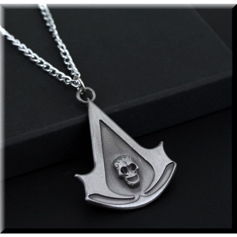 (HOT!) Assassin's Creed Skull Logo Necklace High Quality.