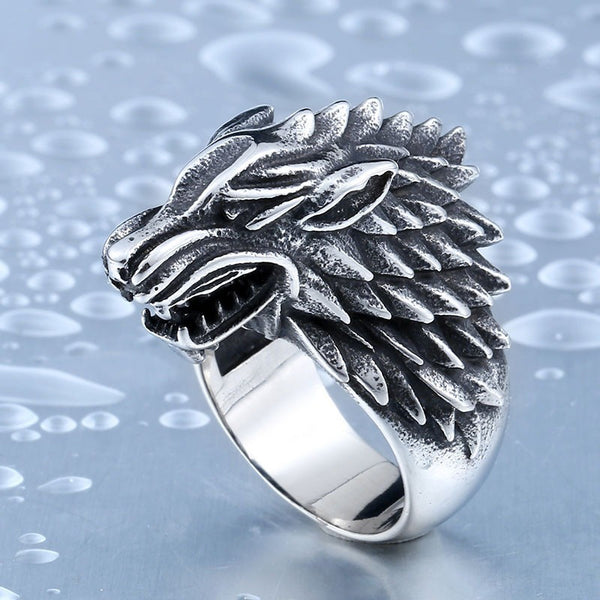 Game of Thrones ice wolf House Stark of Winterfell Biker animal ring