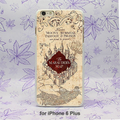 Harry Potter Marauders Map Pattern hard White Skin Case Cover for iPhone 4 4s 4g 5 5s 5c 6 6s 6 Plus