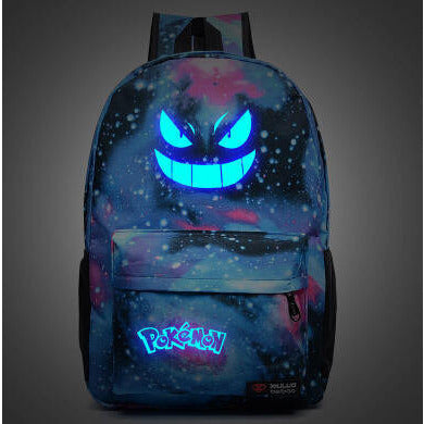 Men's Backpack Pokemon Gengar Backpack Galaxy Luminous Printing