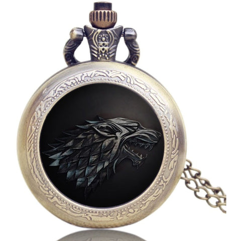 Game Of Thrones Pocket Watch Stark Wolf Necklace
