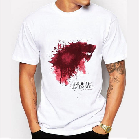 Game of Thrones T Shirt Men Cool The North Remembers Blood Wolf