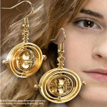 Hot Sale Harry Potter Drop Earrings 18K Gold Plating Time Turner Design Hourglass Dangle Earrings