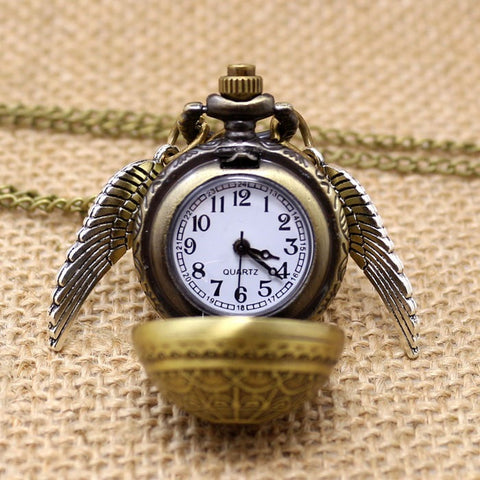 Elegant Harry Potter Golden Snitch Quartz Fob Pocket Watch With Sweater Necklace Chain - GamerGift