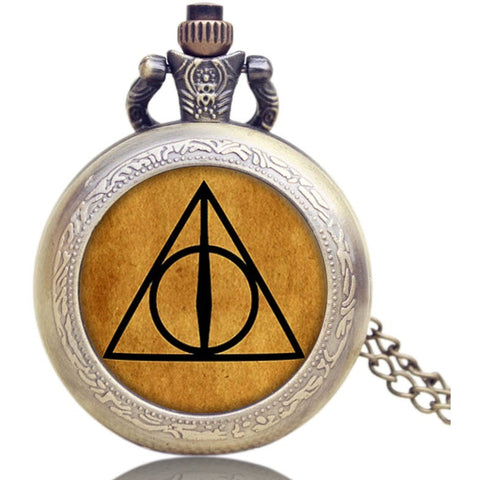 Hogwarts School Badge Harry Potter Pocket Watch Quartz Watch Men with Necklace
