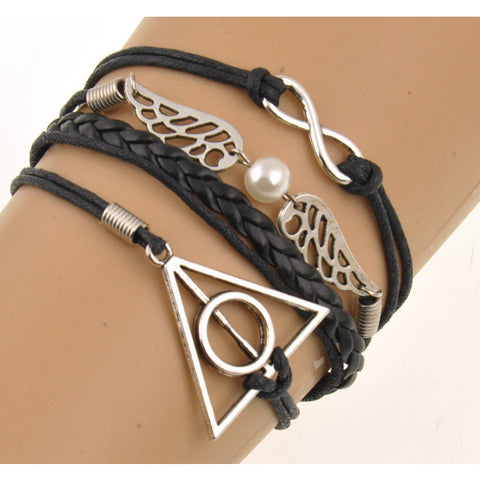 Cool Harry Potter Pendent Black Rope Pulseras Mujer Chain Bracelet - GamerGift
