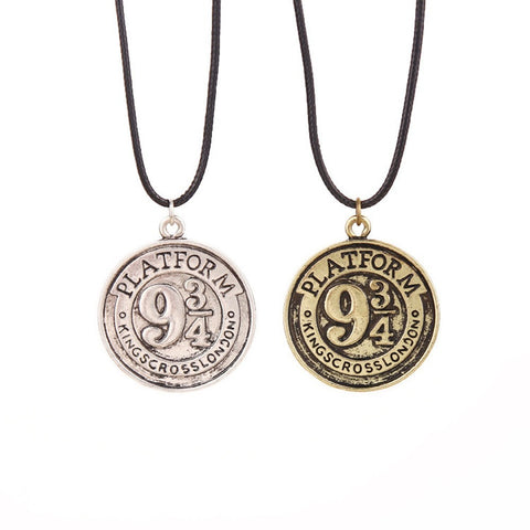 Harry Potter Inspired Hogwarts Express 9 3/4 Logo Image Platform Vintage Pendant Necklace