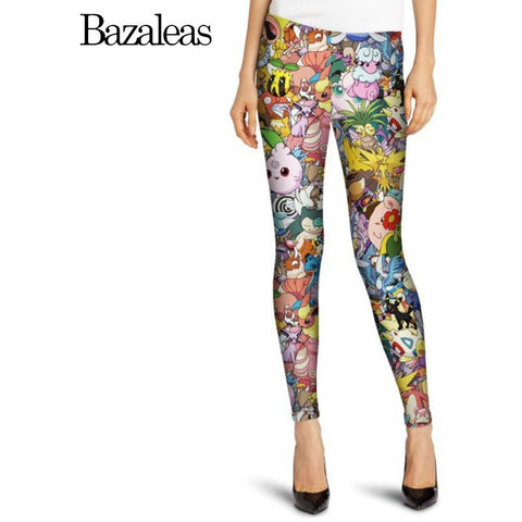 Women Brand Quality Fashion Leggins Skinny Harajuku Pokemon Pattern Pants