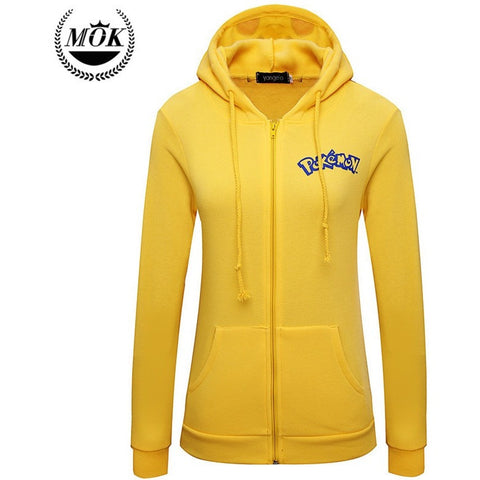 Autumn Jacket Women Solid Sudaderas Mujer New Pokemon Face Pikachu - GamerGift