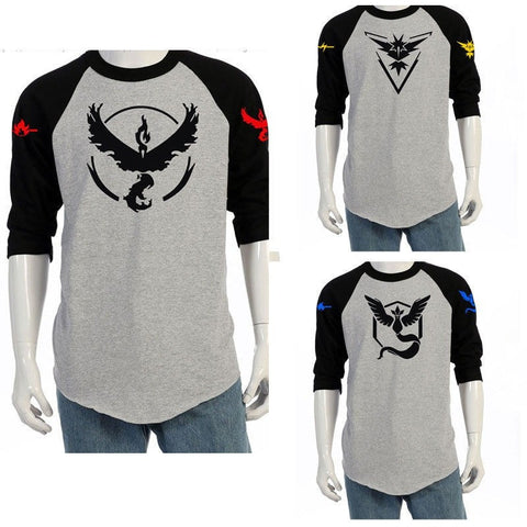 Pokemon Go Team Valor Team Mystic Team Instinct Pokeball O Neck Splice T-Shirt