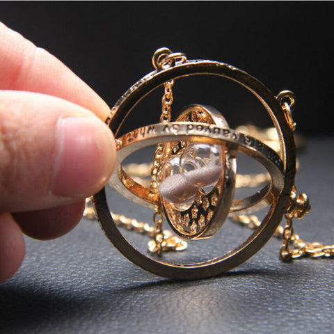 Gold Plated Time Turner Necklace Harry Potter Hermione Granger Rotating Gold Hourglass