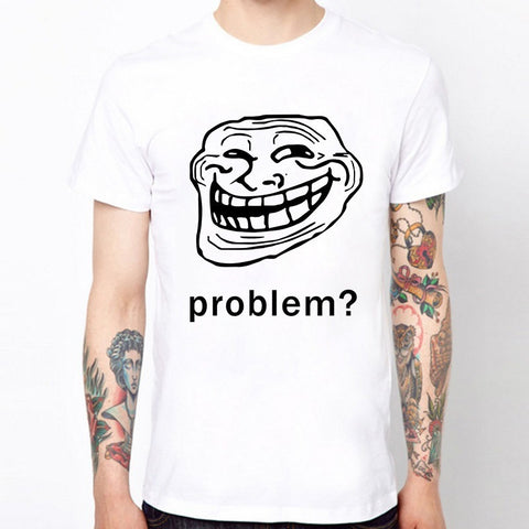 TROLLFACE TROLL FACE SLOGAN O Neck Cotton Casual T Shirts Funny Man tshirt