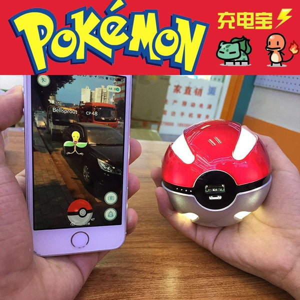 Pokemon Go Pokeball 10000 Mah LED Quick phone Charge Power Bank figure Charger