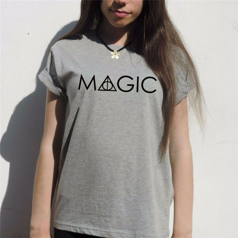 MAGIC Harry potter t shirt Women deathly hallows Hogwarts Weasley wand T-Shirt