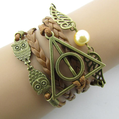 Hand-Woven Harry Potter Hallows Wings   Bracelets Vintage Multilayer Braided - GamerGift.net