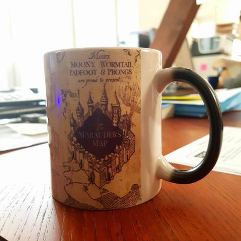 Harry Potter Marauders Map Magic Hot Cold Heat Temperature Sensitive Color-Changing  Coffee Tea Milk Mug Cup