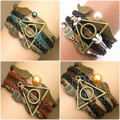 (HOT!) Harry Multilayer Braided Bracelets Vintage Owl potter Deathly Hallows wings Infinity Bracelet Bangle Gryffindor Slytherin - GamerGift