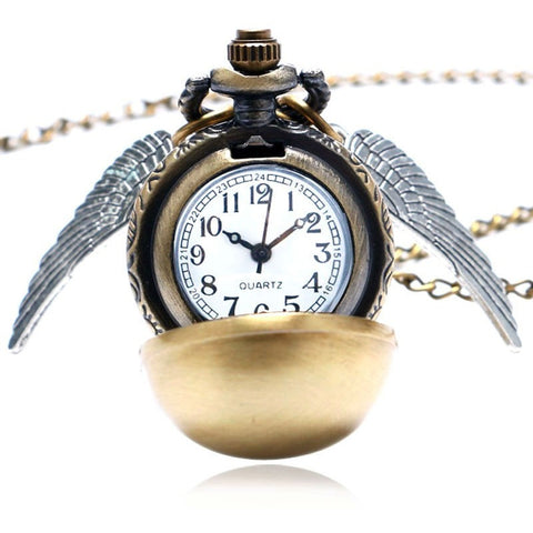 Harry Potter Theme Golden Snitch Quidditch Fob Pocket Watch With Necklace Chain