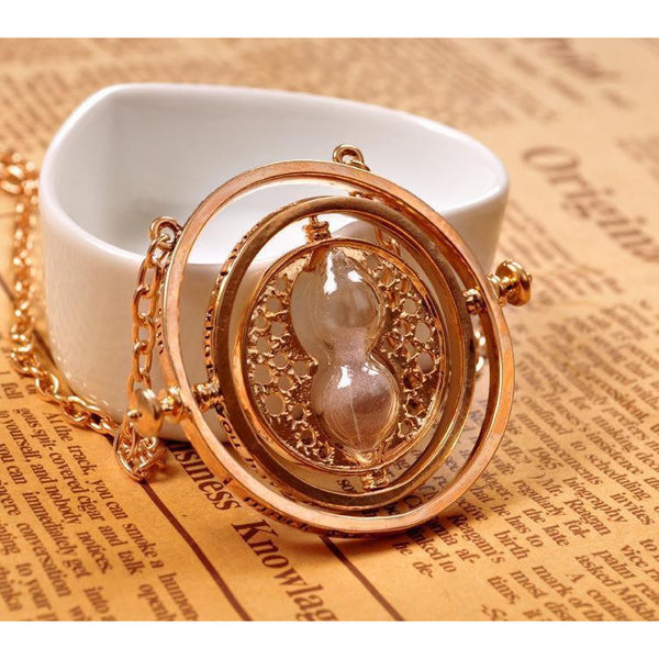 (HOT!) Gold Hourglass harry Time Turner Necklace Hermione Granger Rotating Spins