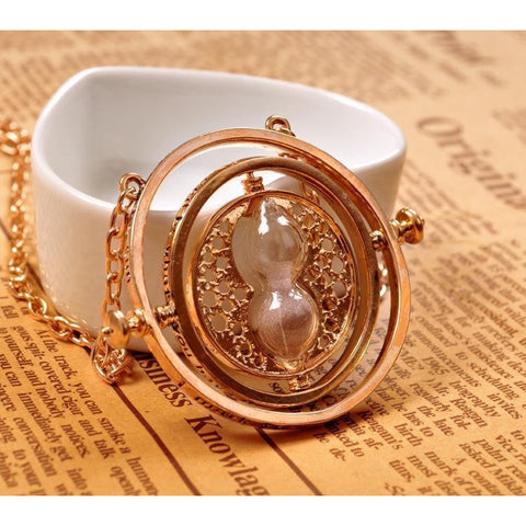 (HOT!) Gold Hourglass harry Time Turner Necklace Hermione Granger Rotating Spins - GamerGift