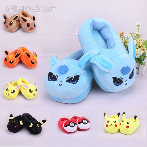 Pokemon Elf Ball Pikachu Eevee Umbreon Plush Shoes Home House Winter Slippers