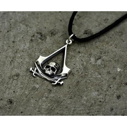 Assassins Creed 3D Skull Pirate Leather Necklace