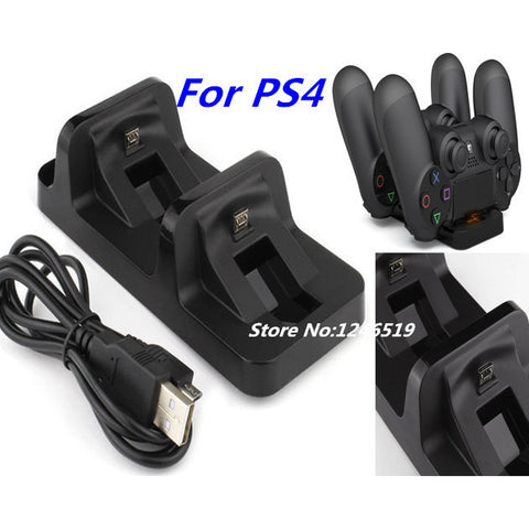 DC 5V USB Port Dual Charging Dock Station Stand Holder Support Charger For Sony PS4 PlayStation 4 PS 4 Game Wireless Controller - GamerGift