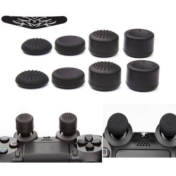 8pcs/Lot Enhanced Silicone Analog Controller Thumb Stick Grips Cap Skin Cover+LED light Bar Sticker for Sony PlayStation 4 PS4