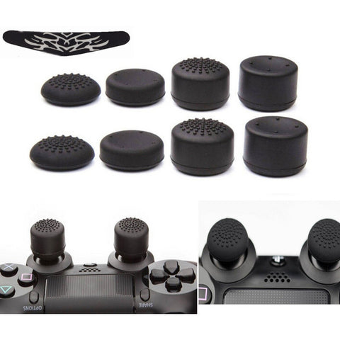 8pcs/Lot Enhanced Silicone Analog Controller Thumb Stick Grips Cap Skin Cover+LED light Bar Sticker for Sony PlayStation 4 PS4 - GamerGift