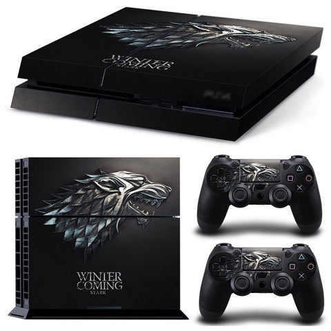 For Playstation 4 PS4 Console Game of Thrones Winter is Coming Stark Decal Skin Stickers + 2 Pcs Stickers For PS4 Controller - GamerGift.net