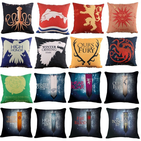 Game of Thrones Style Home Decorative Cotton Linen Cushion Cover