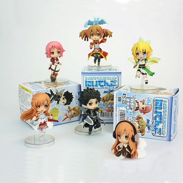 6pcs/set Sword Art Online Fairy Dance Kirito Asuna Lefa PVC Action Figures