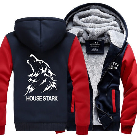 Game of Thrones House Stark Hoodie  Logo Winter JiaRong Fleece Mens Sweatshirts