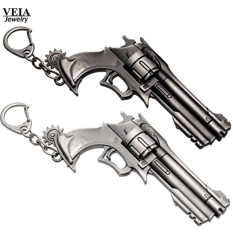 Overwatch Keychain McCree Weapon Gun Revolver Pendant