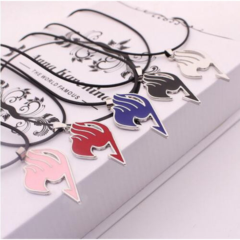 Fairy Tail anime logo red blue black pink alloy necklace - GamerGift