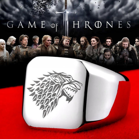 ice wolf House Stark of Winterfell 316L stainless steel ring