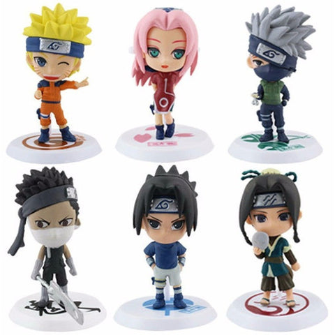 6Pcs/set Anime Naruto Cartoon Q Version Naruto/Kakashi/Sakura/Sasuke - GamerGift