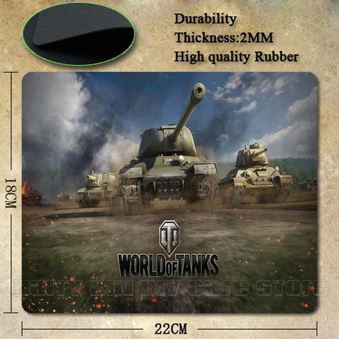 World of Tanks Popular Gaming Rectangle Silicon Durable Mouse Pad