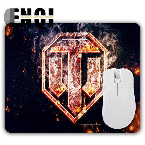 World of Tanks Logo Cool Fire Padded Desktop Mousepad
