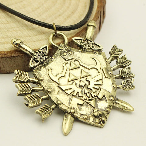 The Legend Of Zelda Triforce Vintage Shield Rope Leather Necklace High Quality