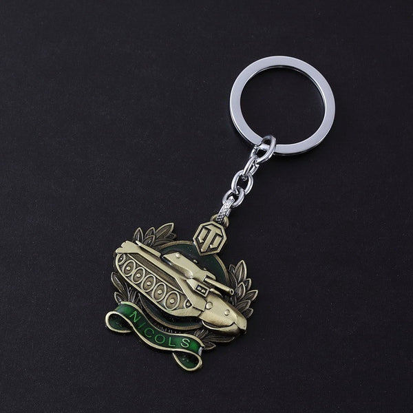 World of Tanks 4 Style Silver coppery Metal Keychain