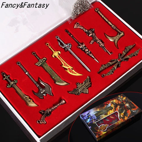 (HOT!) League Of Legend Keychain LoL 11 Pcs Character Weapons Metal Key chains Collection - GamerGift.net