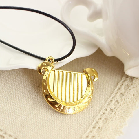 The Legend Of Zelda Necklace 3D Game 18K Gold Plated Harp Shape Pendant Classic Women