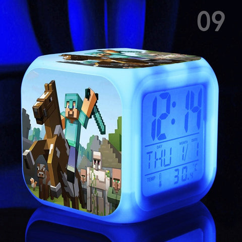 Alarm Clock with LED cartoon game Minecraft - GamerGift