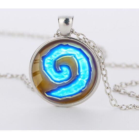 Hearthstone Glass Round Pendant Charm Necklace
